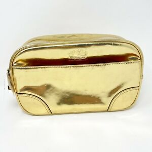 Coach Cosmetic Case Legacy Travel Zip Makeup Bag Leather Gold Metallic Large New