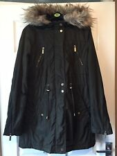 Womans Size 8 Dark Green Fur Hooded Lined  Parka Jacket/coat