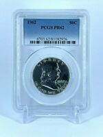 PR62 1962 PCGS GRADED FRANKLIN 90% SILVER HALF DOLLAR 50C PROOF COIN LIBERTY US