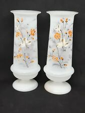 Pair Of Antique Victorian Bristol Vases Hand Painted Floral Matching
