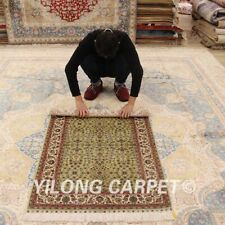 Yilong 2.7'x4' Green Flowers Handmade Silk Area Rugs Hand Knotted Carpets 0528