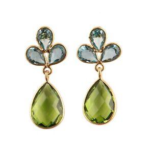 Pear Swiss Blue Quartz Peridot Quartz Yellow Gold Plated Drop Dangle Earrings