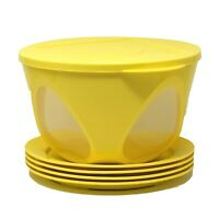 Tupperware Clear Impressions 1 Bowl with 4 Plates Yellow