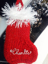 Customized Hand Knitted Sparkly Christmas Stocking Tree Decoration Gif any name