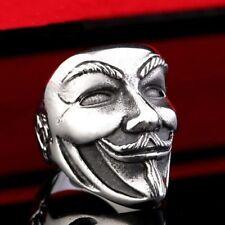 Men Stainless Steel V For Vendetta Mask Anonymous Biker Punk Rock Goth Ring Gift