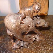 Ancienne sculpture statue Indochine bois sculpté enfant sur buffle