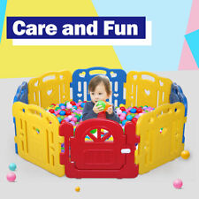 Baby Panel Playpen 8 Panel Foldable Kids Safety Play Fence In/Outdoor Blue