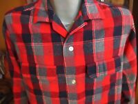 MEDIUM True Vtg 50's 60s TOWNCRAFT RED/GRAY PLAID CAMP WOOL LOOP BUTTON SHIRT