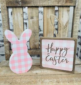 2pc Farmhouse Easter Buffalo Check Bunny Decor For Tiered Tray Display