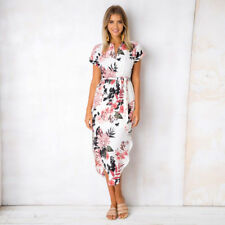 UK Boho Womens Holiday Party Sundress Ladies Summer Beach Casual Dress Size 6-18 3xl #2