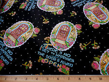 Mary Engelbreit Fabric BTY By Yard The Door Is Always Open on Black Cotton