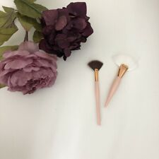 Professional Rose Gold Cheek Highlighter Bronzer Fan Makeup Brushes Duo