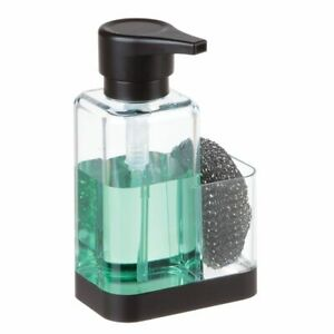 mDesign Plastic Kitchen Liquid Soap Dispenser Pump, Caddy - Clear/Black