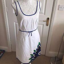 Designer LAUNDRY by SHELLI SEGAL White Linen Silk embellished DRESS Size 6