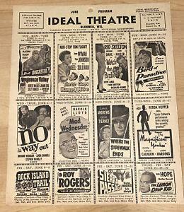 VINTAGE 1951 June Bloomer Wisconsin Ideal Theater Program The Lemon Drop Kid