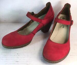 El Naturalista Red Leather Heel Shoes Pump Strap MW860 Women 8-8.5 US 39 EUR VGC