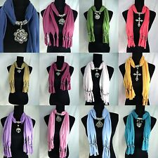 US SELLER-lot of 10 Scarf Necklace Jewelry Wholesale pendant charm scarf