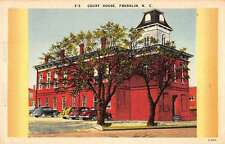 Franklin North Carolina birds eye view court house linen antique pc Z16302