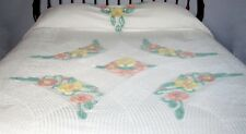Chenille Bedspread Full Bed White Cotton Vintage 1940s Floral Pink Yellow Green
