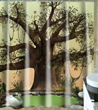 Shower Curtain Hooks Set Bathroom Bathtub Toilet Cover Tree Painting Art Decor