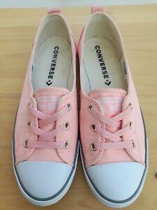 Converse CTAS Pink Ballet Style Lace Slip On Pumps Size 6 VGC