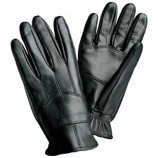 Womens Large GLOVES Black Solid Genuine Leather Driving Insulated Warm Winter