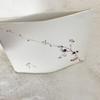 Vintage Barbara Baatz Hand Painted Pink Flower Narrow Vase~Studio Art Pottery
