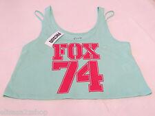 Fox Riders Company Juniors Womens M md crop mint tank top shirt Moto surf NWT*^