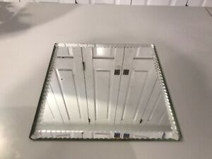 ANTIQUE VICTORIAN MIRRORED PLATEAU. Square With Bevelled Edge.