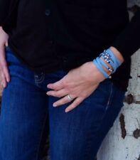 Womens Blue Leather Cuff Swarovski Crystal  Sterling Silver Bracelet, Custom