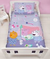 Peppa Pig & Friends Sleepover Lilac Junior Cot Bed Duvet Cover Bedding Set