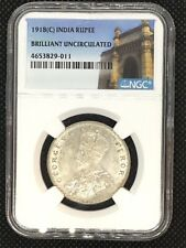 India 1918(C) Rupee NGC Brilliant Uncirculated Silver Coin