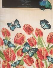 Cynthia Rowley BUTTERFLY TULIP BEADED Table Runner Spring Easter Flower