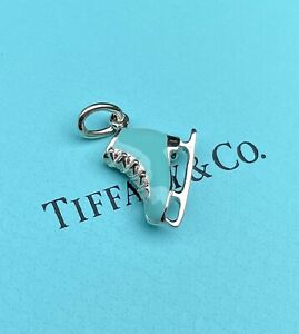 Tiffany & Co. Sterling Silver Blue Enamel Ice Skate Charm 4 Necklace & Bracelet