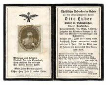 VINTAGE GERMAN WW1 DEATH CARD OTTO HUBER-IRON CROS-26IR 8KMP-1JUNE 1918-REAL PIC