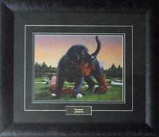 "Phillip Crowe ""The Duffer"" Signed Golf Black Lab Puppy Print-Framed 21 x 18"