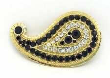 VTG SIGNED CORO CRAFT PAVE CLEAR BLACK RHINESTONE GOLD TONE PAISLEY PIN BROOCH