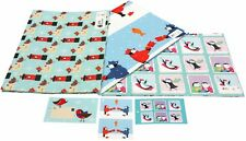 Christmas Gift Wrapping Paper - Postbox Robins & Penguins x 2 - Vicky Scott