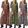 ZANZEA 8-24 Women Vintage Bohemian Printed Floral Dress Flare Long Maxi Kaftan