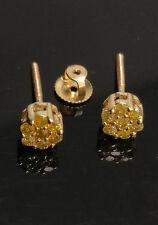 10K Yellow Gold Flower Studs 0.25 CT Canary Diamond Earring Men/Women Screw Back