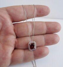 EMERALD SHAPE 925 STERLING SILVER PENDANT W/ 5.25 CT LAB DIAMONDS & RUBY