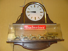 VINTAGE BUDWEISER CLYDESDALE DOUBLE SIDED BEER SIGN CLOCK LIGHT BEER