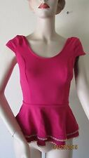 NWT BEBE CHAIN DOUBLE PEPLUM TOP BLOUSE SIZE L