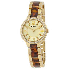 Fossil Virginia White Dial Gold  and Tortoise-shell Acetate Ladies Watch ES3314