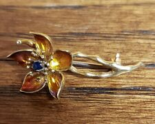 Vintage Estate 18K Yellow Gold Flower Pin Enamel Sapphire Italy