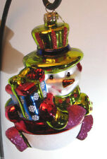 SET/3 RADKO CHRISTMAS Ornaments Fanciful Frosty COLORFUL JOLLY SNOWMAN w/MITTENS