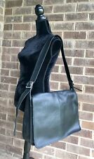 Authentic Coach Black Leather XL  Briefcase/Messenger Crossbody Flap 5206 USA
