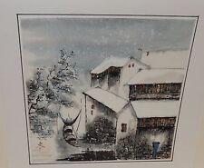 JAPANESE SNOW VILLAGE BOATS LANDSCAPE ORIGINAL WATERCOLOR PAINTING SIGNED
