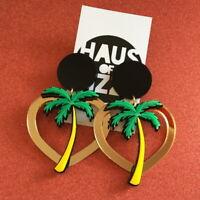 Women Acrylic Resin Coconut tree Earrings Boho Dangle Drop Stud Earring