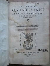 QUINTILIEN INSTITUTIONUM ORATORIARUM libri XII. Gryphe, 1540. Maroquin rouge.